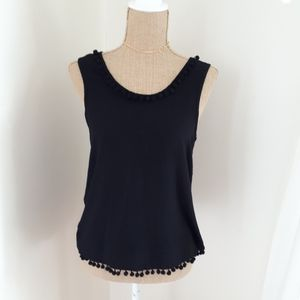 Mile End Black Tassel Tank Top Size S
